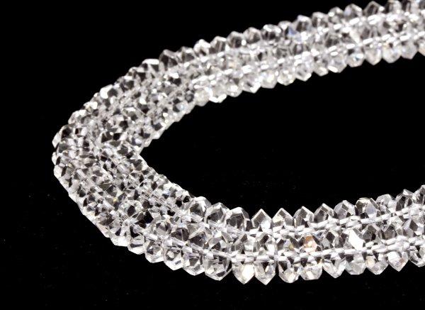 ★クリスタル水晶(人工水晶) 約8×8×4mm <BR>スペーサーボタンカット-1連