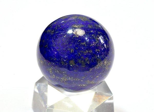 ★藍色の発色の良いラピスは希少です!!<BR>ラピスラズリ3Aのスフィア(丸玉)  直径約25.5mm<br>アフガニスタン産