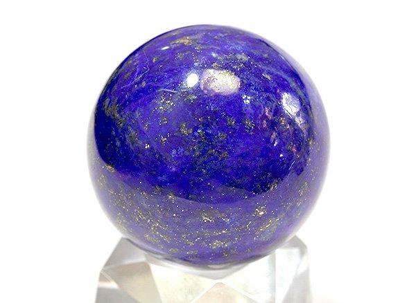 ★藍色の発色の良いラピスは希少です!!<BR>ラピスラズリ3Aのスフィア(丸玉)  直径約29.5mm<br>アフガニスタン産