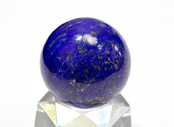 ★藍色の発色の良いラピスは希少です!!<BR>ラピスラズリ3Aのスフィア(丸玉)  直径約26mm<br>アフガニスタン産