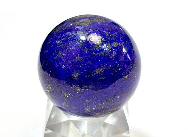 ★藍色の発色の良いラピスは希少です!!<BR>ラピスラズリ3Aのスフィア(丸玉)  直径約28mm<br>アフガニスタン産
