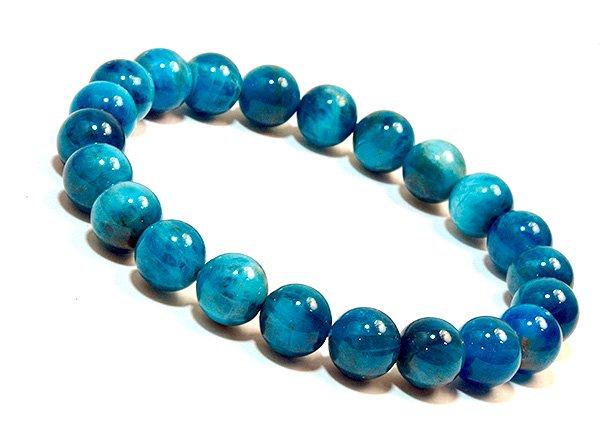 ★ブルーの発色が美しい!!高級ブレスレット!!<br>ブルーアパタイト3A++  ラウンド-ブレスレット8.5mm(26粒)<br>ブラジル産
