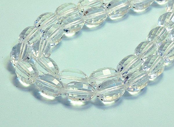 ★宝石質クリスタル水晶SA 約16×11×11mm<BR>オリーブカット-1連