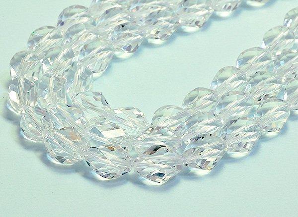 ★宝石質クリスタル水晶SA 約11×8×8mm<BR>オリーブ4面ツイストカット-1連