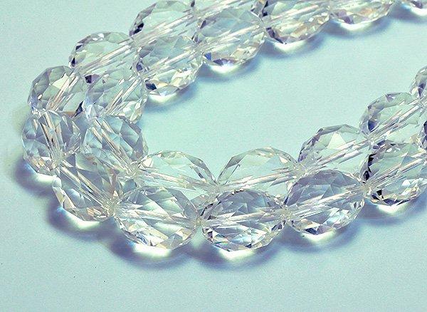 ★宝石質クリスタル水晶SA  約16×12×12mm<BR>オリーブカット-1連