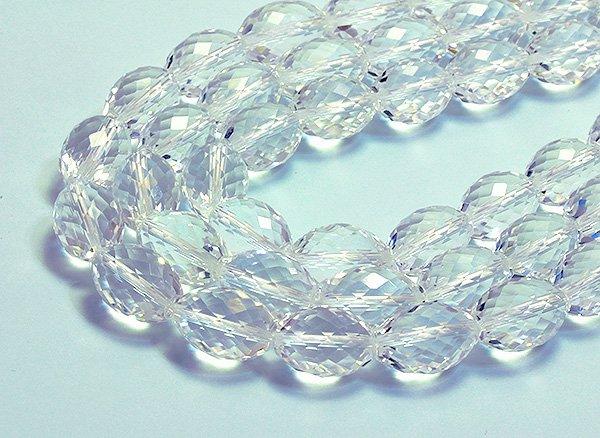 ★宝石質クリスタル水晶SA 約15×11×11mm<BR>ファセットオリーブカット-1連