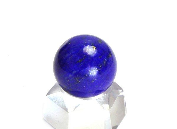 ★藍色の発色の良いラピスは希少です!!<BR>ラピスラズリ3Aのスフィア(丸玉)  直径約14mm<br>アフガニスタン産