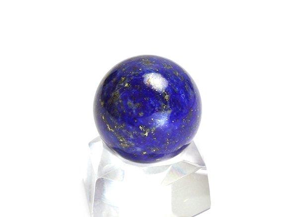★藍色の発色の良いラピスは希少です!!<BR>ラピスラズリ3Aのスフィア(丸玉)  直径約15mm<br>アフガニスタン産