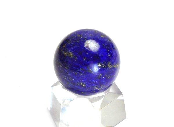 ★藍色の発色の良いラピスは希少です!!<BR>ラピスラズリ3Aのスフィア(丸玉)  直径約15.5mm<br>アフガニスタン産