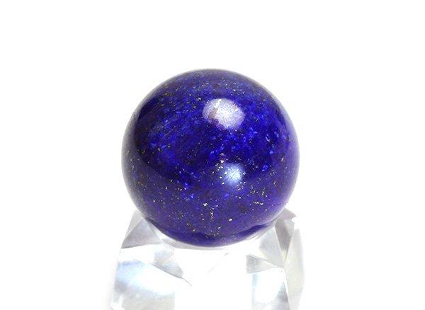 ★藍色の発色の良いラピスは希少です!!<BR>ラピスラズリ3Aのスフィア(丸玉)  直径約16mm<br>アフガニスタン産