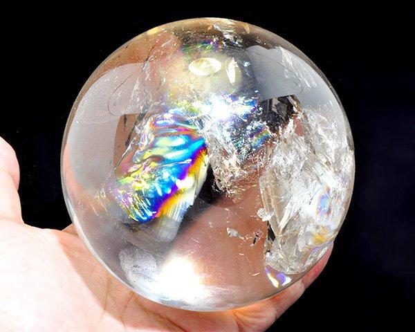 占い向き!!原石<br>美しすぎるレインボーレムリアン水晶SA・スフィア(丸玉)<br>ブラジル・ミナスジェライス州産