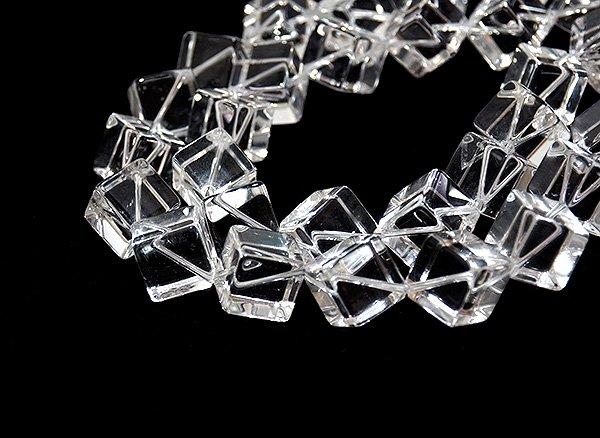 ★クリスタル水晶(SA)14×14×14mm<BR>ダイス-1連