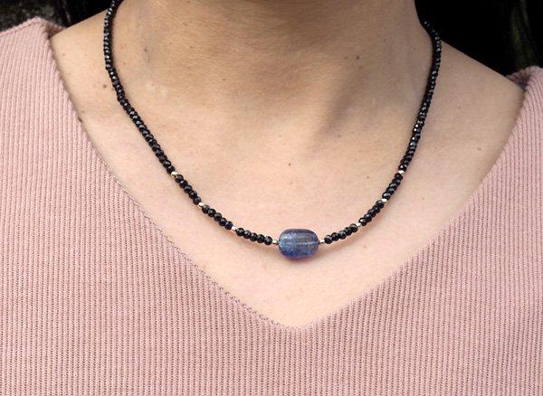 希少石を使ったネックレス!! <br>バイカラータンザナイト&ブラックスピネルのネックレス