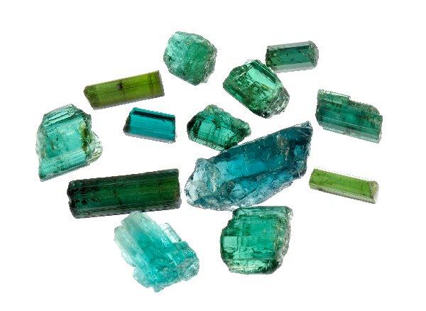 原石<br>インディゴブルートルマリンの結晶セット<br>ブラジル・ミナスジェライス州タクァラル産