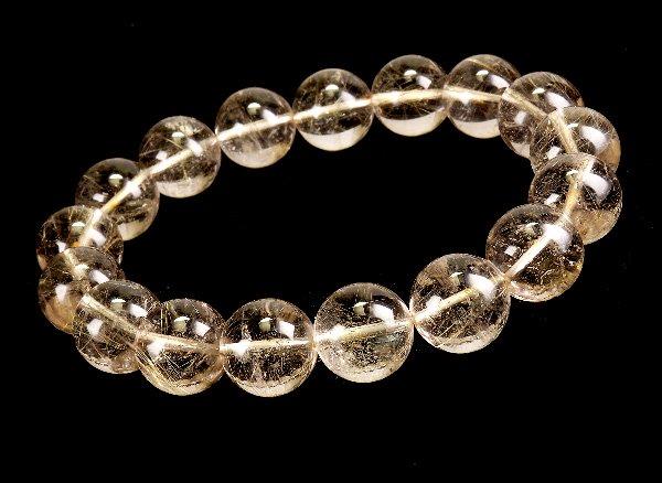 ブレスレット<br>山梨水晶(ルチル入り) 約12.5mm(17粒)<br>乙女鉱山産