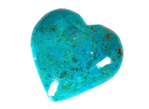 アースブルーの美しいクリソコラハートの原石<br>ペルー産