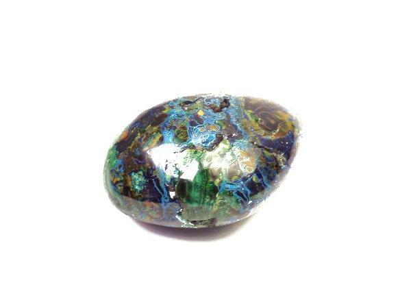 原石<br>ブルーとグリーンのアートな色彩のアズロマラカイトのタンブル<br>ペルー産