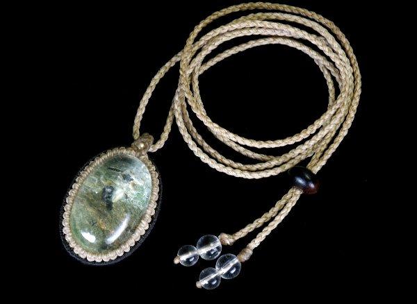 ★手作りマクラメ編みネックレス!!<br>ガーデンクォーツのネックレス首回り:最大約80cm<br>ブラジル産
