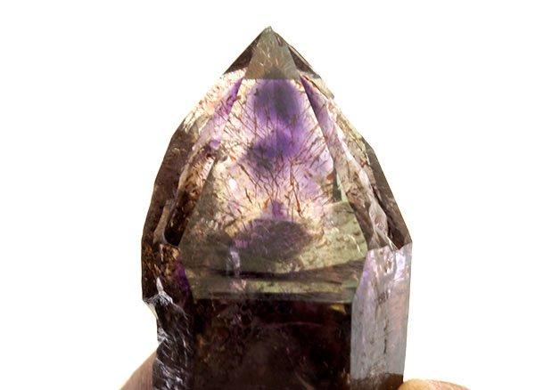 原石<BR>アメジストエレスチャルトリプルファントムクォーツのポイント<BR>ジンバブエ産