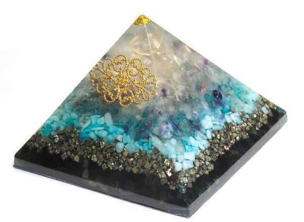 浄化アイテム<br>7 wishes のオルゴナイト・ピラミッド<br>ヒマラヤ水晶・レインボーフローライト・アマゾナイト・パイライト・ゴールデンオブシディアン