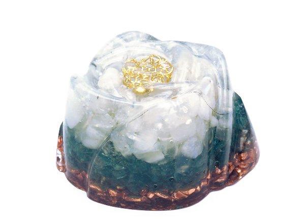 浄化アイテム<br>7 wishes のオルゴナイト・薔薇タイプ<br>ヒマラヤ水晶・レインボームーンストーン・アパタイト・純銅