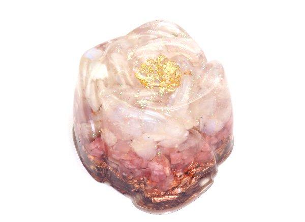 浄化アイテム<br>7 wishes のオルゴナイト・薔薇タイプ<br>ヒマラヤ水晶・レインボームーンストーン・インカローズ・純銅