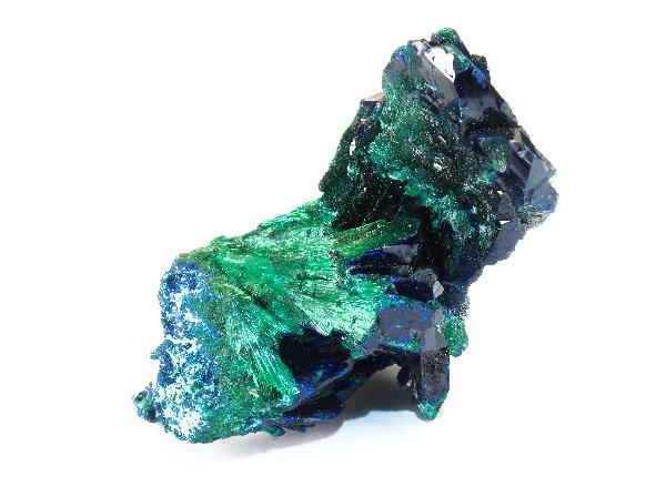 美しすぎる原石<br>ブルーとグリーンのアートな色彩のアズロマラカイトの結晶<br>メキシコ・ソノラ州ミルピラス鉱山