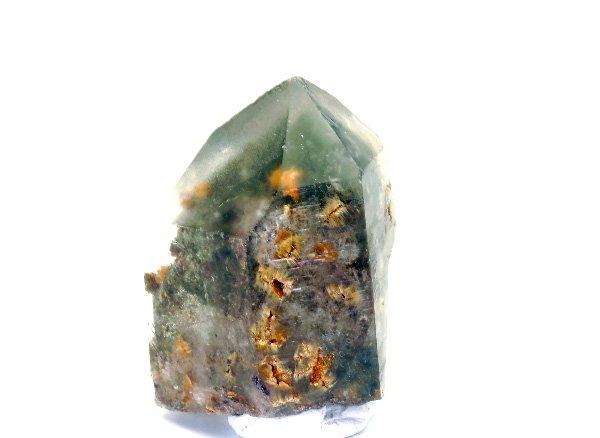 原石<br>フラワールチル入りガーデンファントムクォーツのポイント<br>ブラジル ミナスジェライス州ディアマンティーナ産