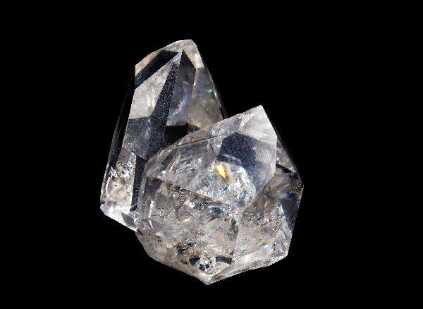 ★原石<br>レインボーハーキマーツインダイヤモンド(両剣水晶)/ニューヨーク州ハーキマー産