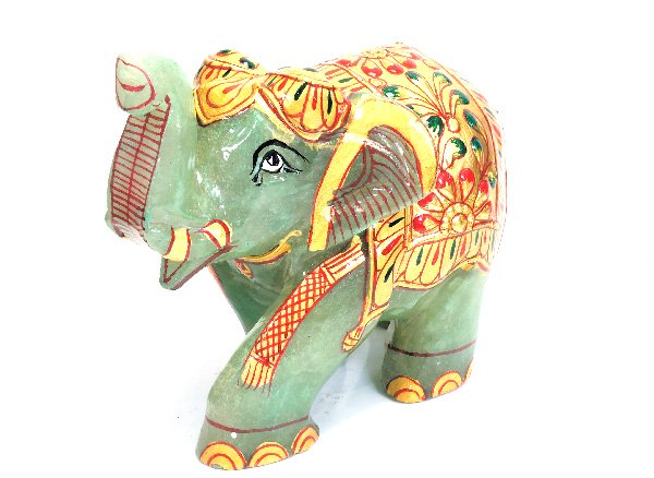 超お買い得!!しあわせを運ぶ象!!<br> グリーンクォーツァイトの象<BR>インド産