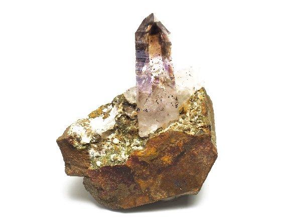 原石<BR>スモーキーアメジストファントムエレスチャルクォーツのポイント母岩付き<BR>ナミビア・ゴボボセブ山脈ブランドバーグ山産