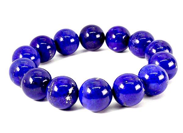 藍色の発色の凄いです!!<BR>ラピスラズリSAのブレスレット約16mm(14粒)腕回り:約17cm<br>アフガニスタン産