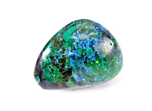 美しい原石<br>ブルーとグリーンのアートな色彩のアズロマラカイトのタンブル<br>ペルー産