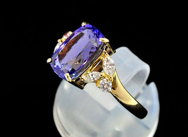★500000円➡50%OFF!!<br>最上級タンザナイト約4.14ct&ダイヤモンドの18KYGリング<br>タンザニア産