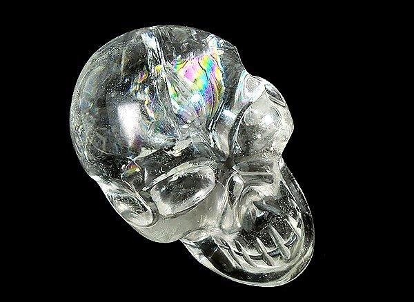 原石<br>レインボー水晶・スカル(髑髏)<br>インド ヒマチャル・プラデシュ州クル産