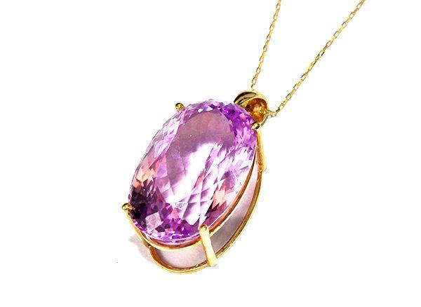 ★280000円➡50%OFF!! <BR>美しすぎる宝石質のクンツァイトSA 18KWGペンダントトップ