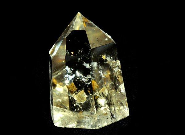 原石<br>アルセノパイライト(硫砒鉄鉱)・インクォーツのポイント<br>ブラジル・ミナスジェライス州コリント産