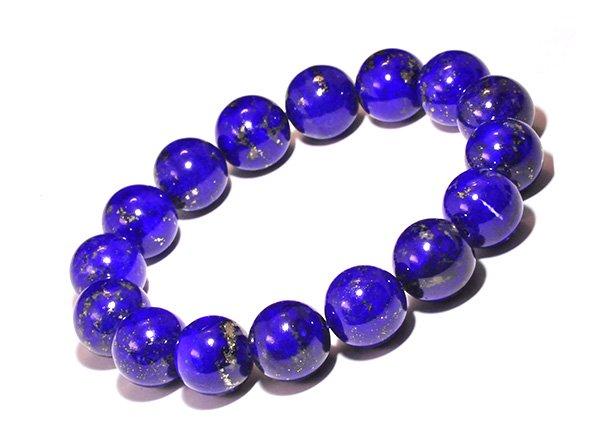 藍色の発色の凄いです!!<BR>ラピスラズリSAのブレスレット約13mm(16粒)腕回り:約16cm<br>アフガニスタン産