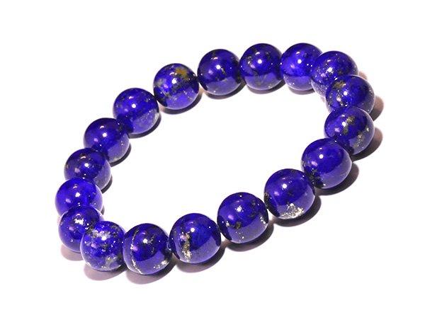 藍色の発色の凄いです!!<BR>ラピスラズリSAのブレスレット約11mm(18粒)腕回り:約16cm<br>アフガニスタン産
