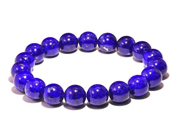 藍色の発色の凄いです!!<BR>ラピスラズリSAのブレスレット約10.5mm(19粒)腕回り:約16.5cm<br>アフガニスタン産