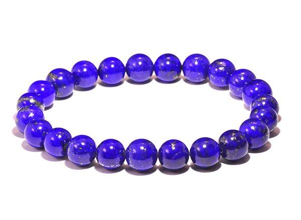藍色の発色の凄いです!!<BR>ラピスラズリSAのブレスレット約8mm(23粒)腕回り:約16cm<br>アフガニスタン産