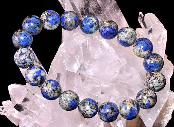 世界第2位であるK2のみで産出される石<br>ヒマラヤK2ブルーSA(グラナイトインアズライト)のブレスレット約12mm(18粒)<br>パキスタン・ギルギット・バルティスタン州