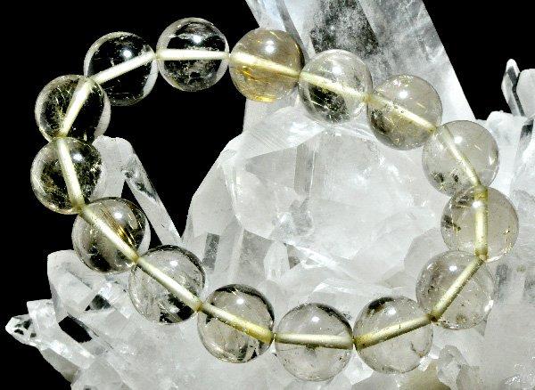 ブレスレット<br>山梨水晶(ルチル入り) 約13mm(16粒)<br>乙女鉱山産