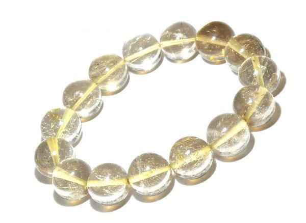 ブレスレット<br>山梨水晶(ルチル入り) 約14mm(15粒)<br>乙女鉱山産