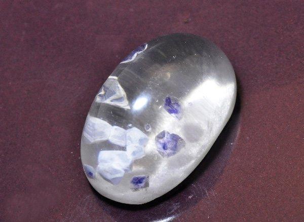 美しい希少石<br>ブルーフローライトインクォーツのペアシャイプルース<br>マダガスカル産