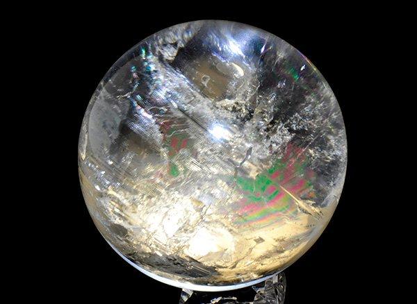 原石<br>美しすぎるレインボーレムリアン水晶・スフィア(丸玉)台座付きです。<br>ブラジル・ミナスジェライス州産