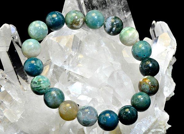 ソロモン王の石<BR>スレイマン・グリーン(スレマニ / ソロモン・アゲート)のブレスレット約10mm(18粒)<br>南インド産