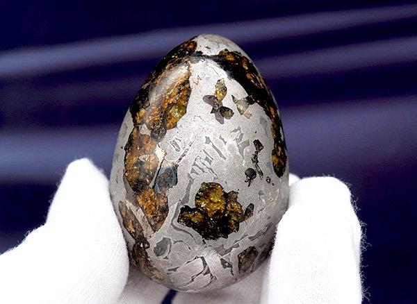 宇宙の神秘のパワーを秘めたパラサイト隕石!!<BR>セイムチャンパラサイト隕石のエッグ<BR>ロシア・マガダン州・セイムチャン産<br>(宝石鑑別書付)