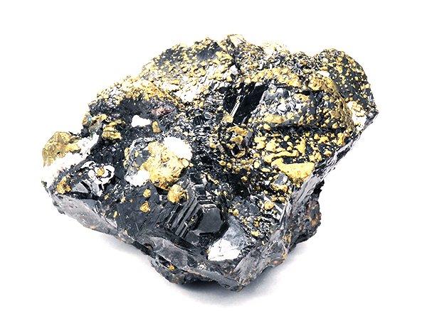 幻惑の石といわれるスファレライトの上に吹きかけたようにキャルコパイライトが散りばめられた結晶原石<br>ロシア・ダルネゴルスク産