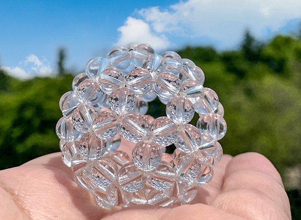グレートセントラルサンの永久機関!!<br>神聖幾何学フラーレンクリスタル水晶SA 8mm 32面体<br>ブラジル・ミナスジェライス州産